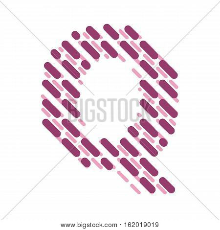 Striped latin alphabet. Letter Q from lines hatching dotted decorative font