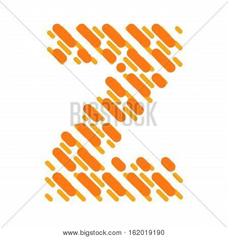 Striped latin alphabet. Letter Z from lines hatching dotted decorative font