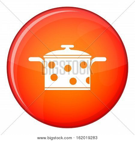 Saucepan with white dots icon in red circle isolated on white background vector illustration