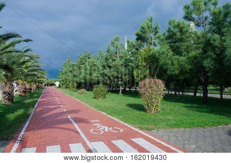 Bicycle lane at Batumi seafront,Georgia,Adjara, cycle track