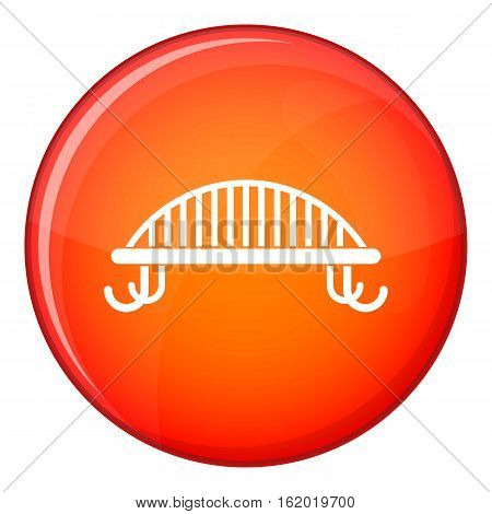 Bench with backrest icon in red circle isolated on white background vector illustration
