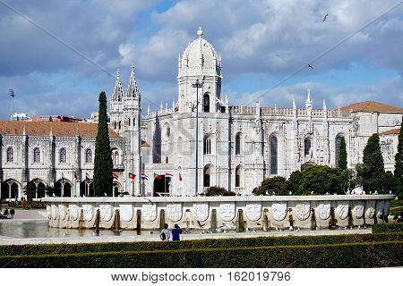 Lisbon, Portugal, November 19, 2016: The Jeronimos monastery at Lisbon in Portugal.