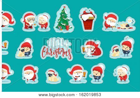 Quirky Santa Claus Funny Christmas characters in flat style. Set Santa Claus, small child, an elderly couple, grandparents, pet dog. Festive character for Christmas cards. Cute cartoon people.