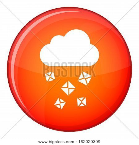 Cloud and hail icon in red circle isolated on white background vector illustration