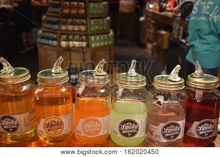 GATLINBURG, TN - OCT 3: Ole Smoky Moonshine Holler in Gatlinburg, Tennessee, as seen on Oct 3, 2016. It is the first federally licensed distillery in the history of East Tennessee.