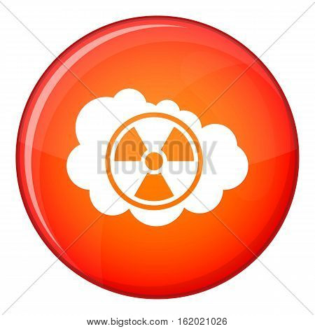 Cloud and radioactive sign icon in red circle isolated on white background vector illustration