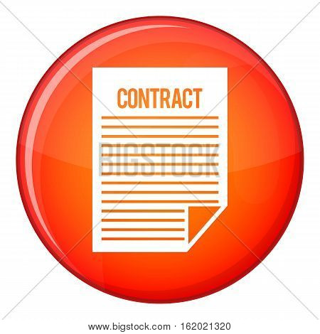 Contract icon in red circle isolated on white background vector illustration