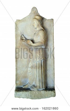 greek ancient marble grave stele isolated over white