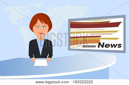 On the image presented anchorman of television news illustration