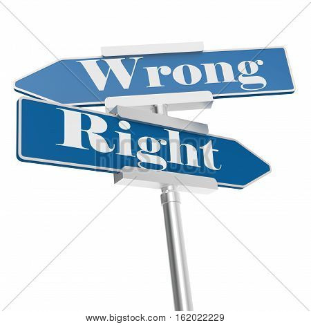 Wrong and right blue road signs 3D rendering