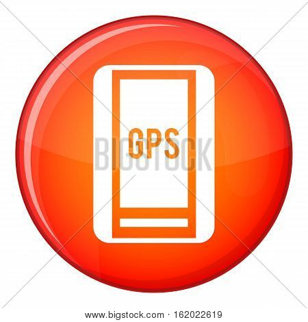 Global Positioning System icon in red circle isolated on white background vector illustration