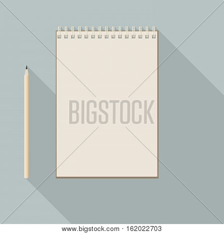 To Left Handed Pencil And Blank Kraft Paper Notebook