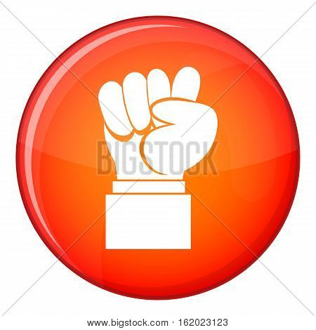 Raised up clenched male fist icon in red circle isolated on white background vector illustration