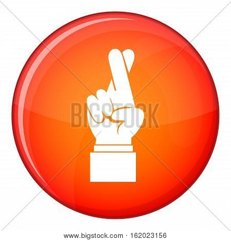 Fingers crossed icon in red circle isolated on white background vector illustration