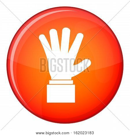 Hand showing five fingers icon in red circle isolated on white background vector illustration