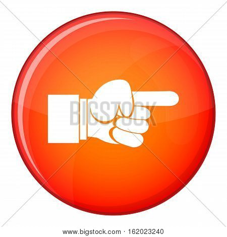 Pointing hand gesture icon in red circle isolated on white background vector illustration