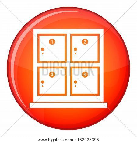 Cells for storage in the supermarket icon in red circle isolated on white background vector illustration