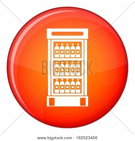 Fridge with refreshments drinks icon in red circle isolated on white background vector illustration