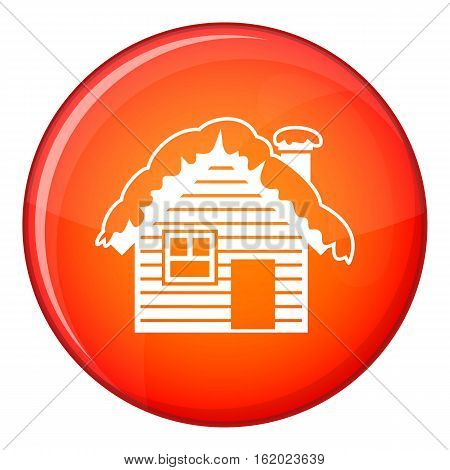 Wooden house covered with snow icon in red circle isolated on white background vector illustration