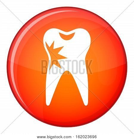 Cracked tooth icon in red circle isolated on white background vector illustration