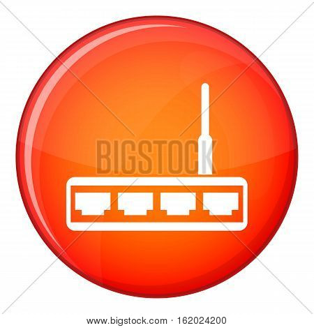 Router icon in red circle isolated on white background vector illustration