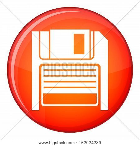 Magnetic diskette icon in red circle isolated on white background vector illustration