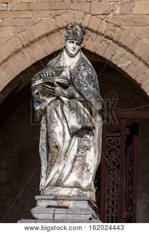 Statue In Front Of The Cefalu Cathedral In Cefalu, Sicily, Italy