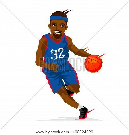 Cool black basketball player in a blue uniform with a ball. Vector illustration on white background. Sports concept.