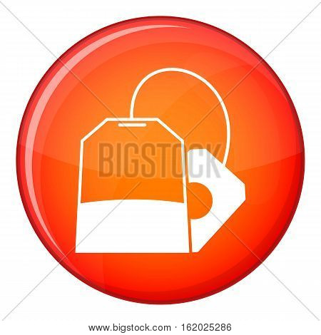 Teabag icon in red circle isolated on white background vector illustration