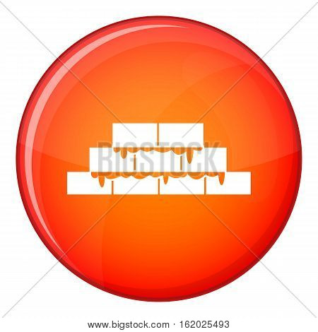 Brickwork icon in red circle isolated on white background vector illustration