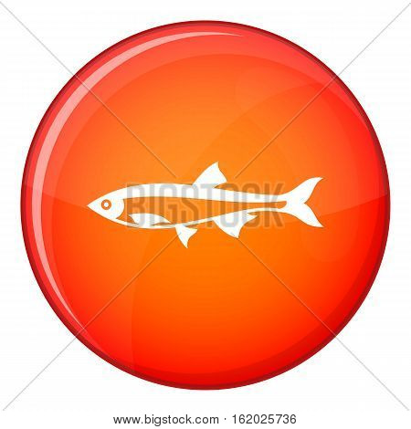 Herring fish icon in red circle isolated on white background vector illustration