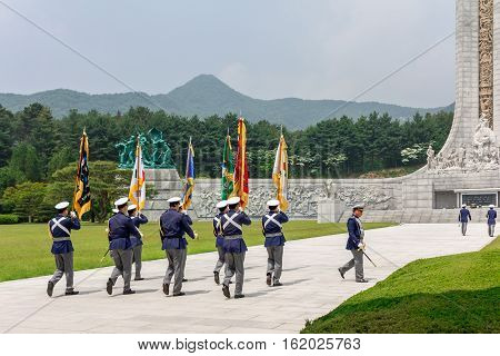 Ceremony of respect at Memorial Tower (Hyeonchungtap). Daejeon National Cemetery South Korea 25 may 2016