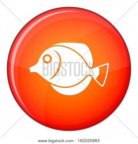 Tang fish, Zebrasoma flavescens icon in red circle isolated on white background vector illustration