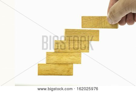 fill a piece of Pile of wooden blocks in stair style on isolate - can use to display or montage on product