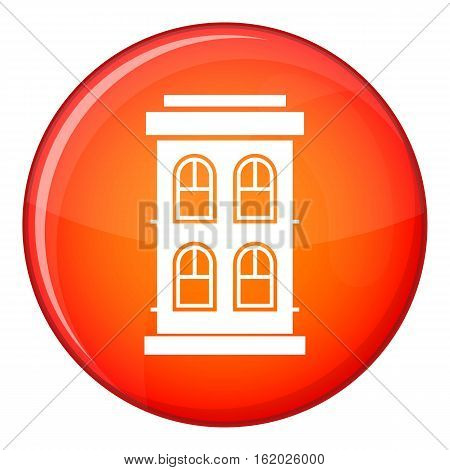 Two-storey house with large windows icon in red circle isolated on white background vector illustration