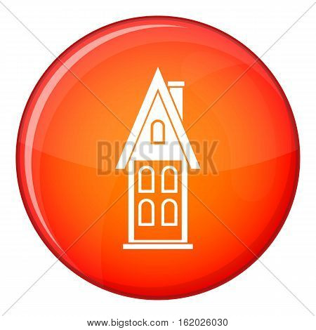 Two storey house with attic icon in red circle isolated on white background vector illustration