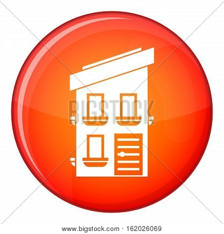 Two-storey house icon in red circle isolated on white background vector illustration