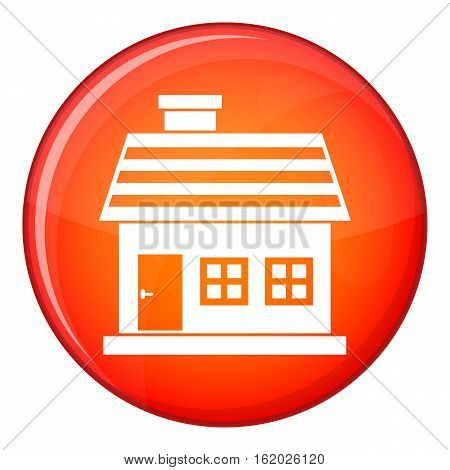 One-storey house icon in red circle isolated on white background vector illustration