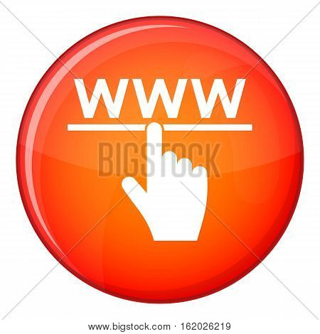 Hand cursor and website icon in red circle isolated on white background vector illustration