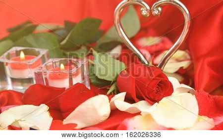 Valentine's Day.two candles and roses on a red background