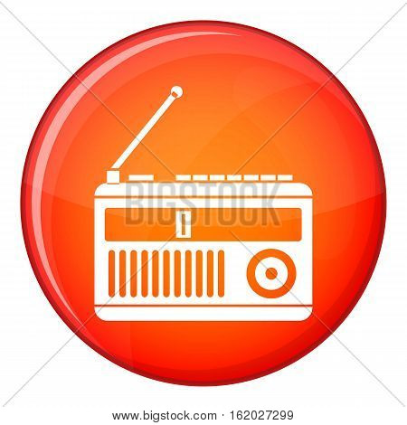 Retro radio icon in red circle isolated on white background vector illustration
