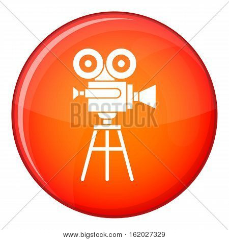 Retro film projector icon in red circle isolated on white background vector illustration