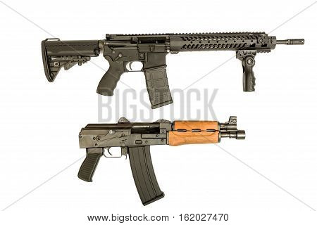 AR-15 and AK-47 assault rifles on an isolated background