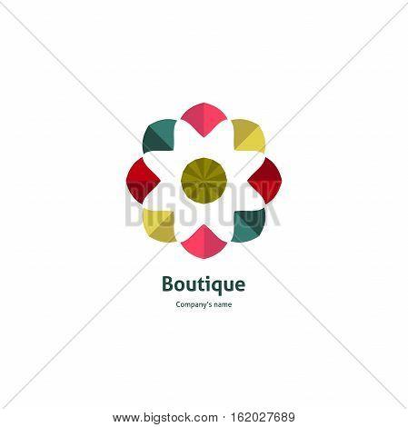 Bright logo in candy colors. Caramel rosebud for boutique, flower shop, business, interior. Company mark, emblem, element. Simple geometric mandala logotype. Kaleidoscope big bud. Surround blossom.