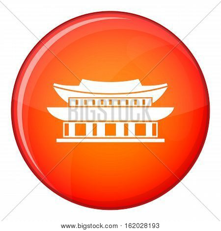 Gyeongbokgung palace, symbol of Seoul icon in red circle isolated on white background vector illustration