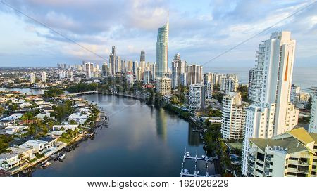 GOLD COAST, AUSTRALIA - DECEMBER 17 2016: Aerial view in Surfers Paradise facing north towards the Q1 building, with Isle of Capri on the left.