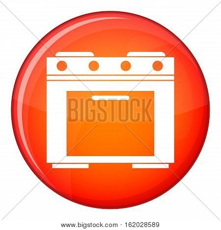 Gas stove icon in red circle isolated on white background vector illustration