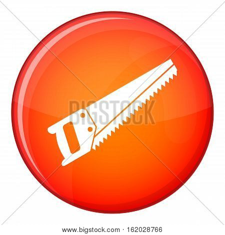 Saw icon in red circle isolated on white background vector illustration