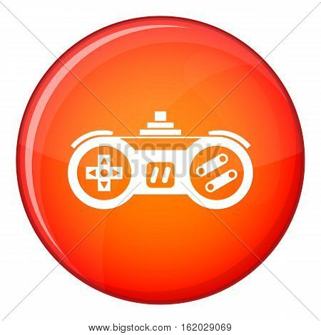 Gamepad icon in red circle isolated on white background vector illustration