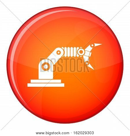 Robotic hand manipulator icon in red circle isolated on white background vector illustration
